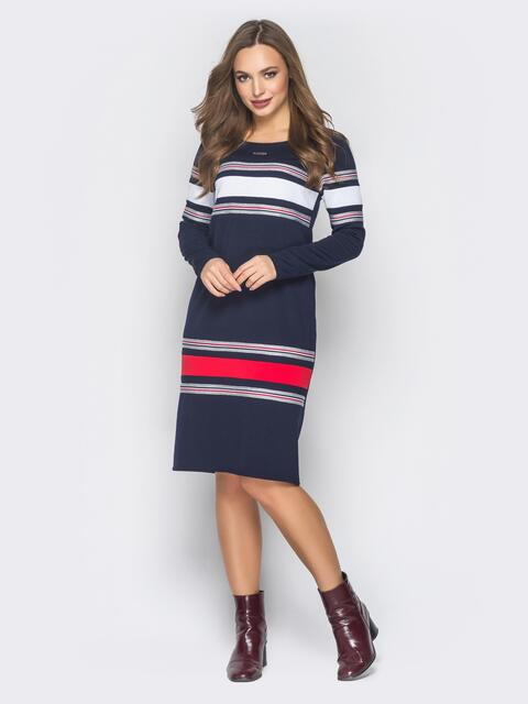 Платье тёмно-синее с бело-красными вставками спереди - 18841, фото 1 – интернет-магазин Dressa
