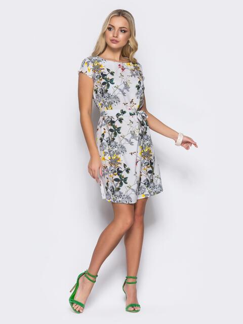 Платье в цветочный принт свободного кроя с разрезами по бокам - 11068, фото 1 – интернет-магазин Dressa
