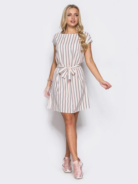 Платье в полоску свободного кроя с разрезами по бокам - 11069, фото 1 – интернет-магазин Dressa