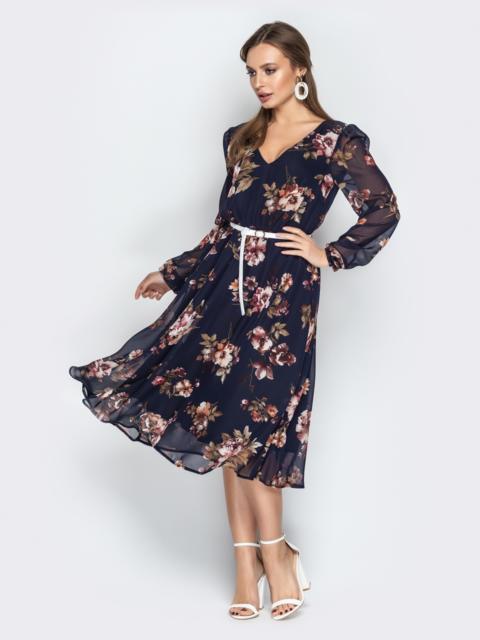 Принтованное платье с подкладкой и воротником аскот тёмно-синее - 21006, фото 1 – интернет-магазин Dressa