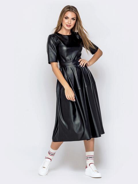 Приталенное платье из кожи с юбкой-бочонок чёрное 40757, фото 1