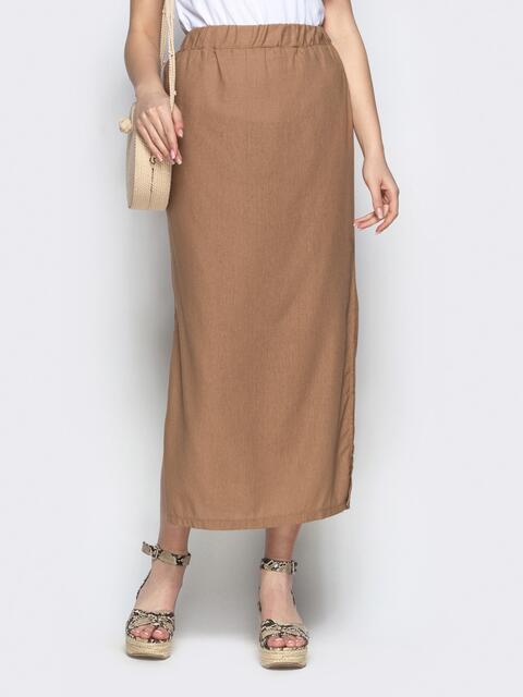 Прямая юбка бежевого цвета с резинкой по талии - 21911, фото 1 – интернет-магазин Dressa