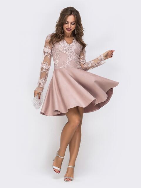Пудровое платье с юбкой-полусолнце и кружевным верхом 42855, фото 1