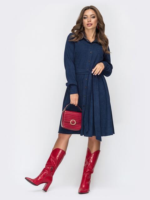 Расклешенное платье из вельвета тёмно-синее - 44858, фото 1 – интернет-магазин Dressa