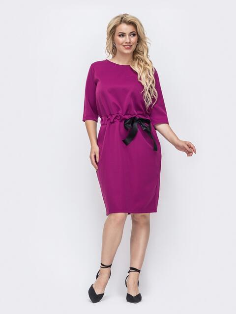 Розовое платье большого размера с кулиской в поясе 50899, фото 1