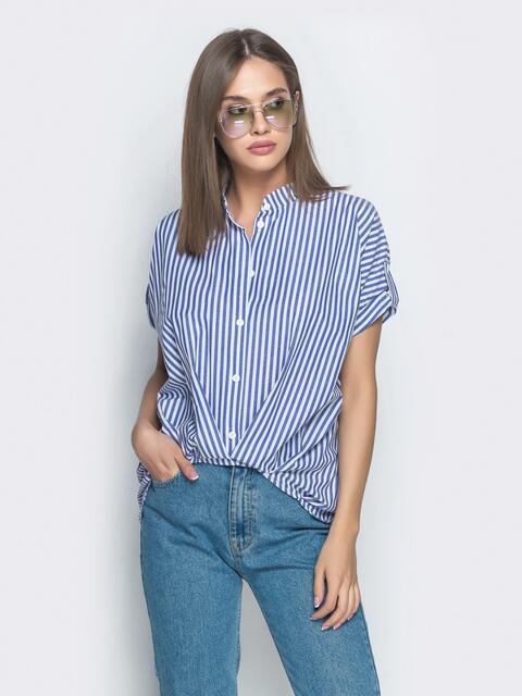 Синяя рубашка в полоску с удлиненной спинкой - 39086, фото 1 – интернет-магазин Dressa
