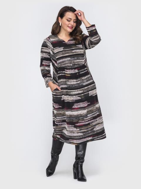 Платье батал свободного кроя с принтом черное 52123, фото 1