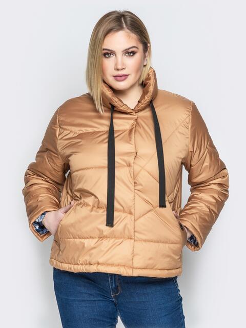 Бежевая куртка на кнопках с воротником-стойкой - 20063, фото 1 – интернет-магазин Dressa