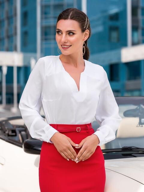 Блузка белого цвета с фигурным вырезом - 39855, фото 1 – интернет-магазин Dressa