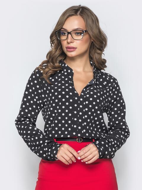 Чёрная блузка в горох с V-вырезом - 39846, фото 1 – интернет-магазин Dressa