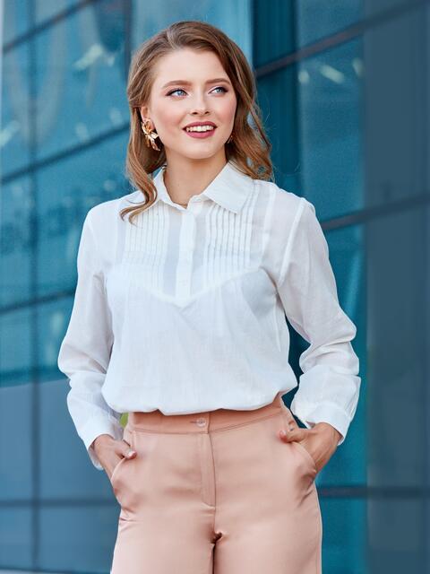 Хлопковая блузка с гофрированной кокеткой белая - 39857, фото 1 – интернет-магазин Dressa