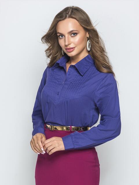 Хлопковая блузка с гофрированной кокеткой фиолетовая - 39858, фото 1 – интернет-магазин Dressa
