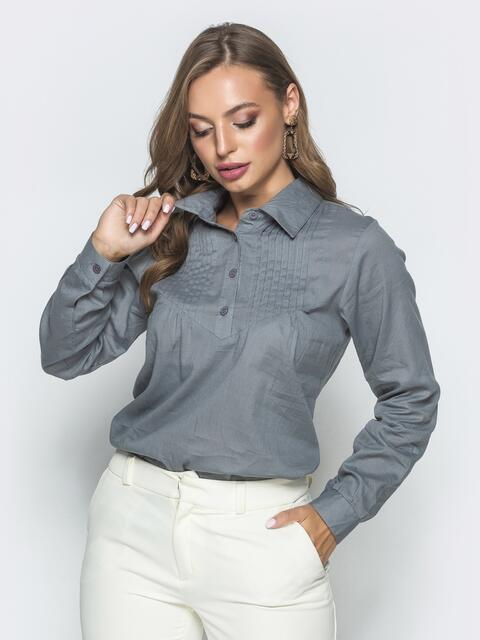 Хлопковая блузка с гофрированной кокеткой серая - 39859, фото 1 – интернет-магазин Dressa