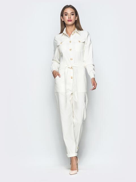 Комбинезон белого цвета в стиле сафари - 40109, фото 1 – интернет-магазин Dressa