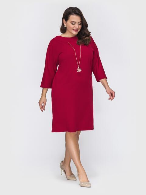 Платье батал приталенного кроя с украшением красное 52121, фото 1