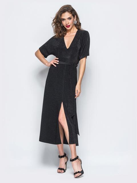 """Платье черного цвета из """"сахарного"""" букле с разрезом - 17900, фото 1 – интернет-магазин Dressa"""