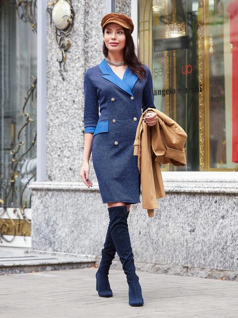 Платье-пиджак из костюмной ткани с классическим воротником - 17555, фото 1 – интернет-магазин Dressa