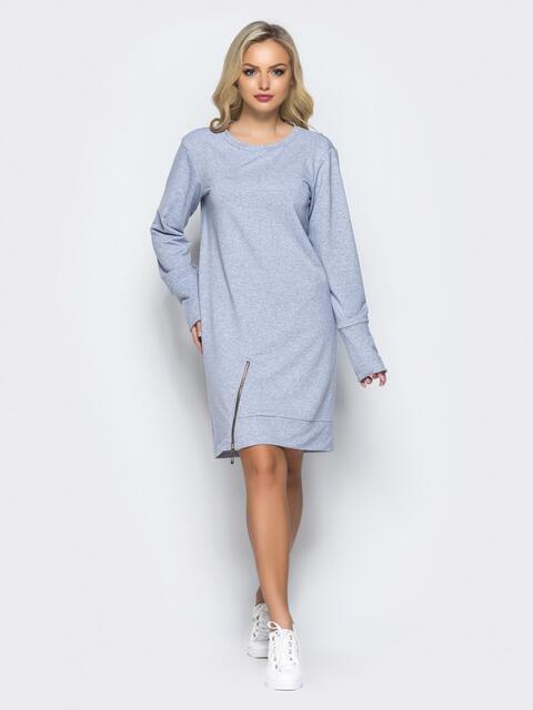 Платье-туника с функциональной молнией снизу серое - 15677, фото 1 – интернет-магазин Dressa