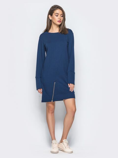 Платье-туника с функциональной молнией снизу тёмно-синее - 15676, фото 1 – интернет-магазин Dressa