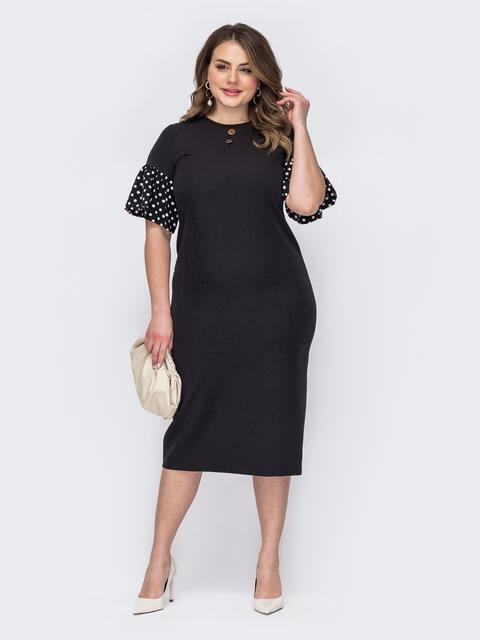 Приталенное платье батал с воланами на рукавах черное 53623, фото 1