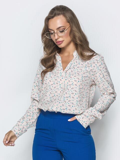 Пудровая блузка с цветочным принтом и V-вырезом 39847, фото 1