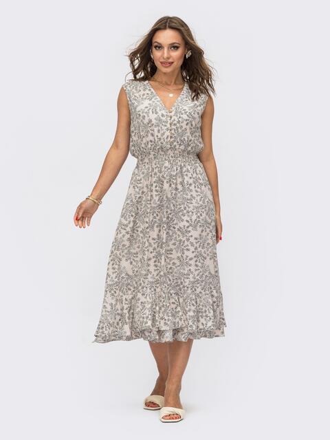 Серое платье с V-образным вырезом и эластичным поясом 54085, фото 1