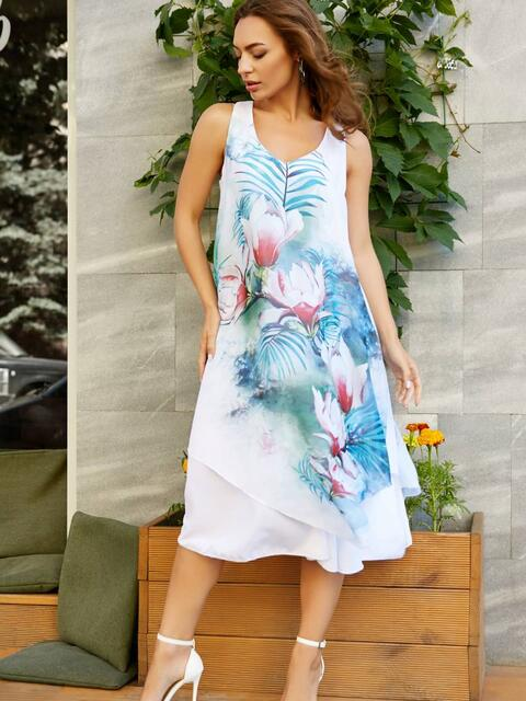 Шифоновое платье с ассиметричным низом и голубым принтом - 11621, фото 2 – интернет-магазин Dressa