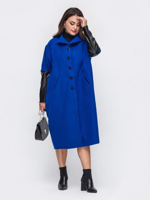 Синее пальто большого размера с рукавами из эко-кожи 50996, фото 1