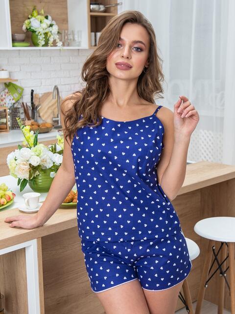 Синяя хлопковая пижама с топом и шортами - 20686, фото 1 – интернет-магазин Dressa