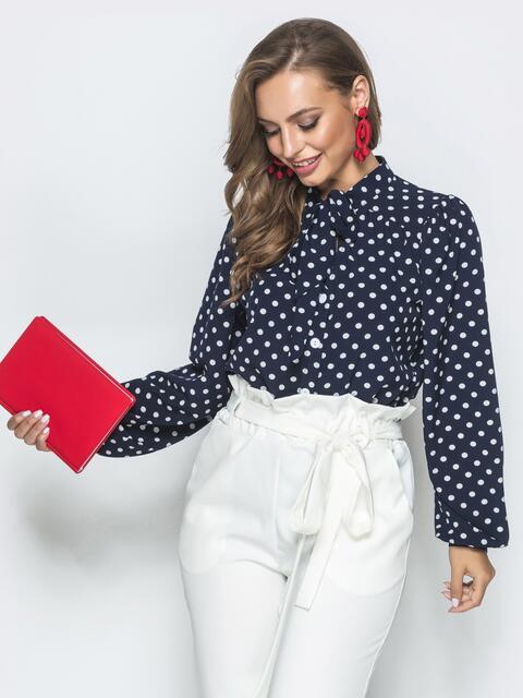Тёмно-синяя блузка в горох с воротником-аскот - 39849, фото 1 – интернет-магазин Dressa