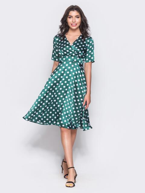 Зелёное платье на запах с втачным поясом - 11788, фото 2 – интернет-магазин Dressa