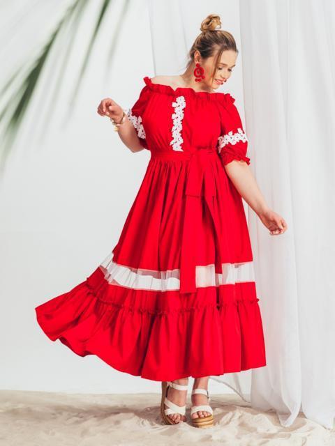 Длинное платье батал с открытыми плечами красное 46235, фото 1
