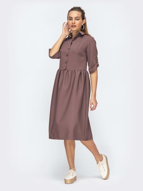 Коричневое платье-миди с отложным воротником 44875, фото 1