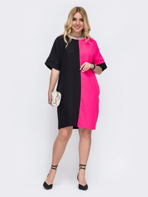 Льняное платье батал прямого кроя розовое 49219, фото 1