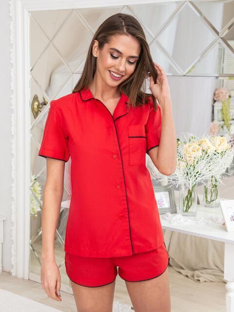 Пижама из рубашки с короткими рукавами и шорт красная - 20688, фото 1 – интернет-магазин Dressa