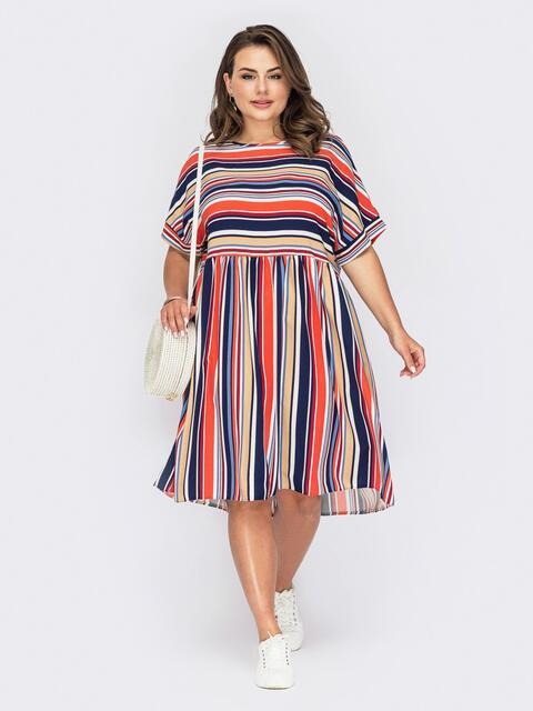 Платье в полоску с расклешенной юбкой и коротким рукавом 53970, фото 1