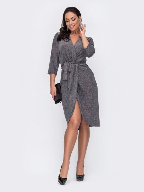 Приталенное платье большого размера с люрексом серое 52112, фото 1