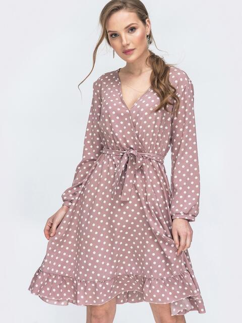 Пудровое платье в горошек с V-вырезом и воланом - 45878, фото 1 – интернет-магазин Dressa