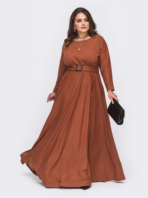 Расклешенное платье-макси большого размера коричневое 51013, фото 1