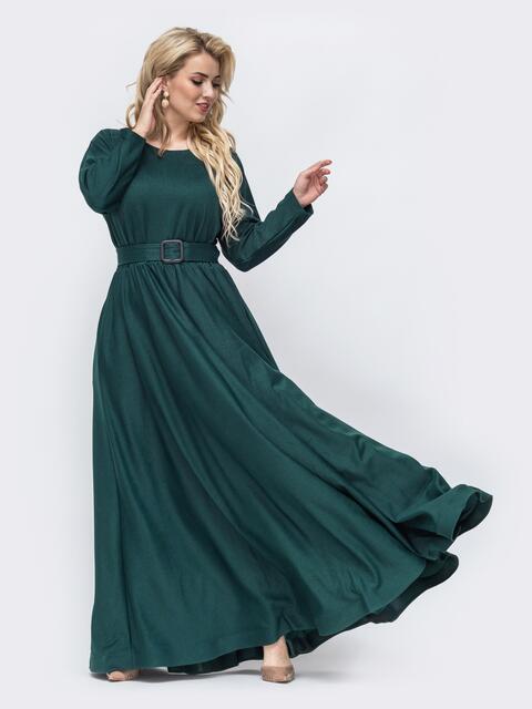 Расклешенное платье-макси большого размера зеленое 51014, фото 1