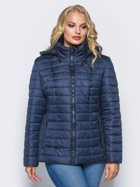 Темно-синяя демисезонная куртка батал со съемным капюшоном - 14712, фото 1 – интернет-магазин Dressa