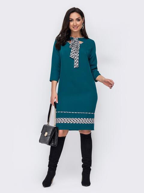 Зеленое платье батал с принтованным воротником-аскот 52741, фото 1