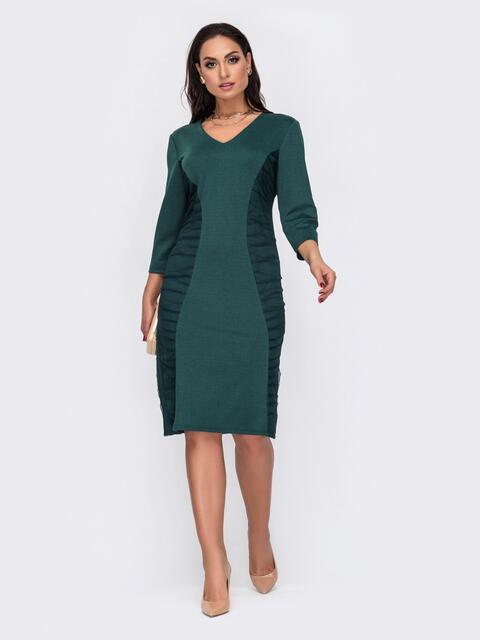 Зеленое платье-футляр большого размера с V-образным вырезом 52040, фото 1