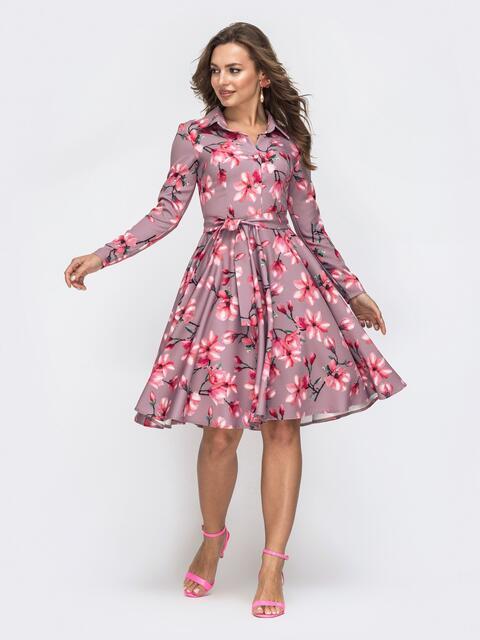 Бежевое платье с принтом и расклешенной юбкой 45598, фото 1
