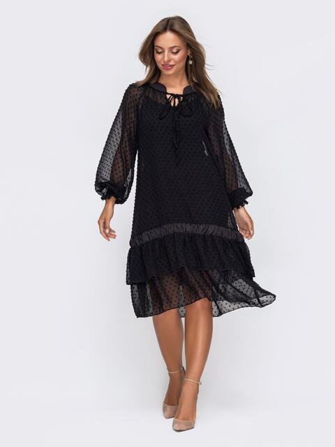 Черное платье из шифона с воланом по низу 50799, фото 1