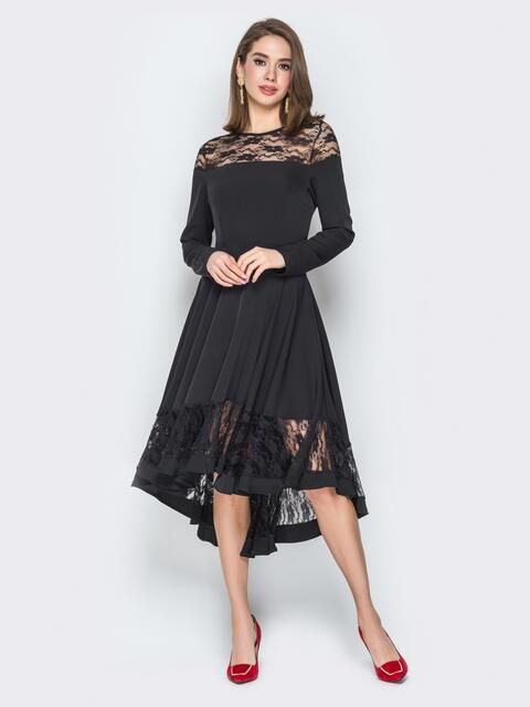 Чёрное платье приталенного кроя с гипюровыми вставками - 20178, фото 1 – интернет-магазин Dressa