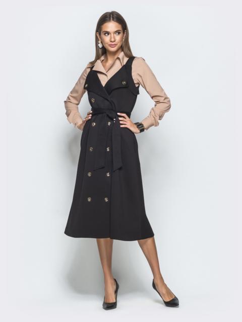Двубортный сарафан приталенного кроя чёрный - 39937, фото 1 – интернет-магазин Dressa
