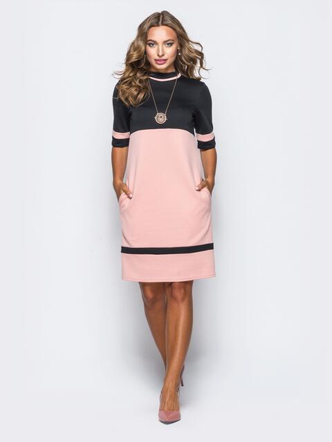 Двухцветное платье из французского трикотажа без застёжек - 16999, фото 1 – интернет-магазин Dressa