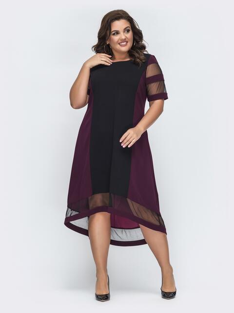 фиолетовое платье батал с удлиненной спинкой 45312, фото 1