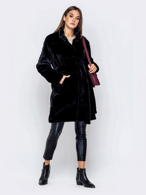 Искусственная шуба чёрного цвета с воротником-стойкой - 40182, фото 1 – интернет-магазин Dressa
